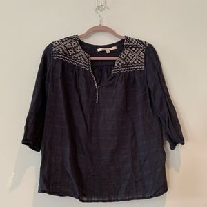 Free People Embroidered Navy Blue Top